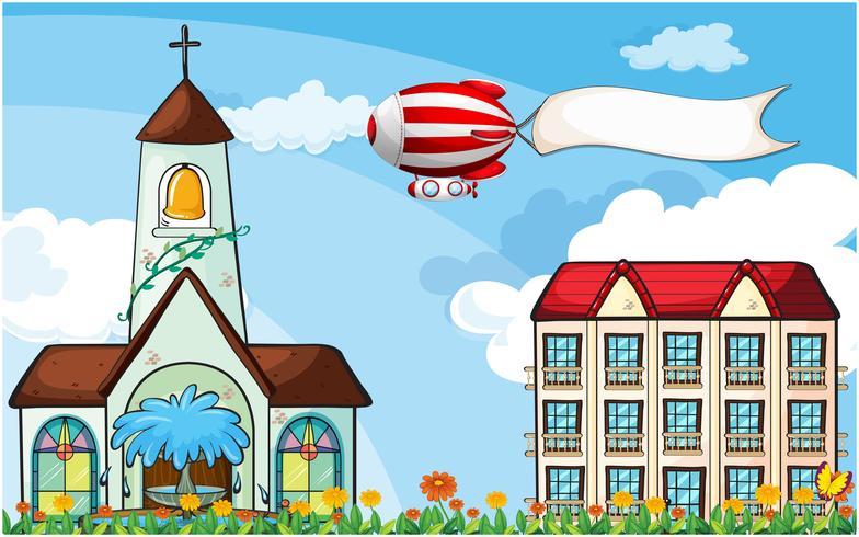 Een ballon met een lege banner die dichtbij de kerk vliegt vector