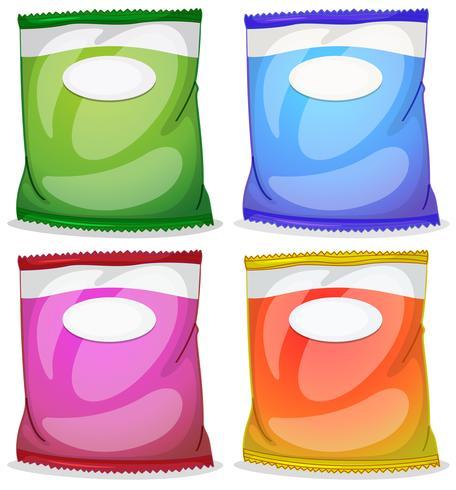 Vier pakketten met lege labels vector