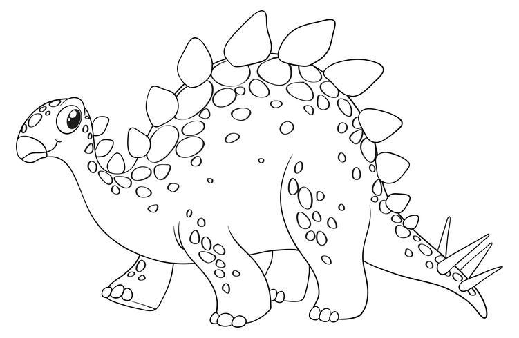 Dierlijke schets voor schattige dinosaurus vector