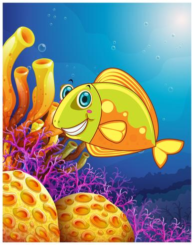 Een lachende vis onder de zee vector