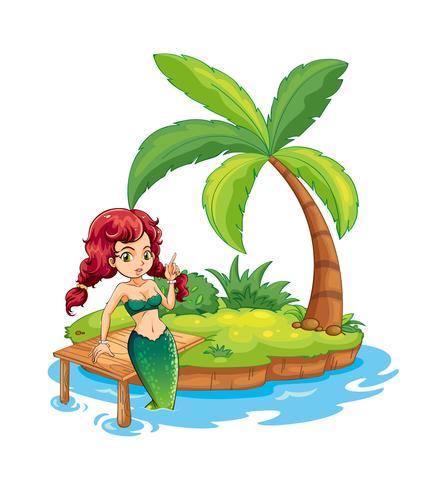 Een eiland met een zeemeermin vector