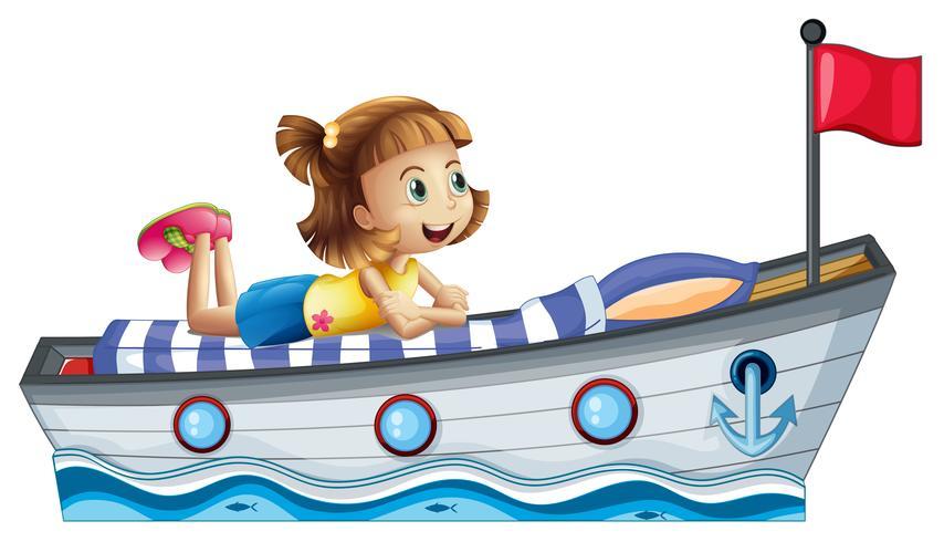 Een meisje dat boven het schip met een rode vlag ligt vector