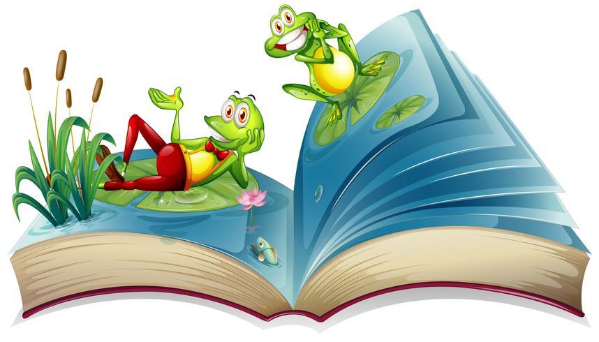 Open boek met twee kikkers in de vijver vector