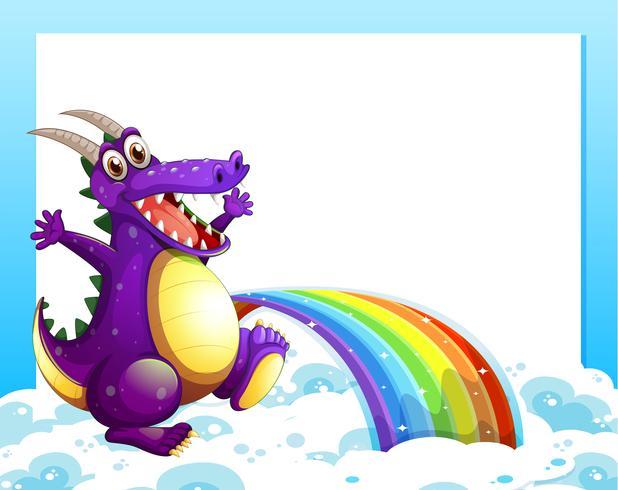 Een draak dichtbij de regenboog voor het lege malplaatje vector