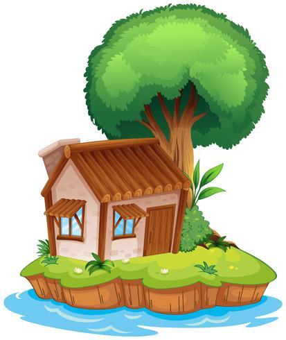 Een huis op een eiland vector