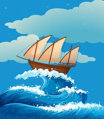 Een schip boven de gigantische golven vector
