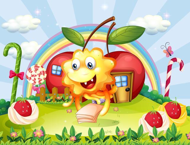 Een gelukkig monster op de heuveltop met gigantische lolly's en appelhuizen vector