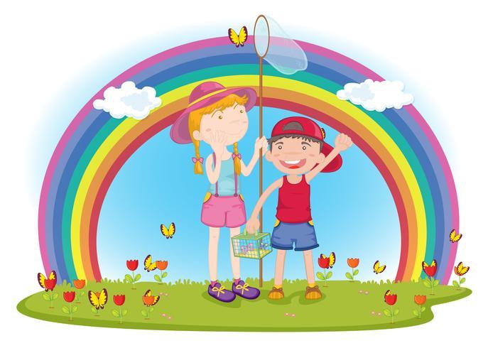 kinderen in de tuin vector
