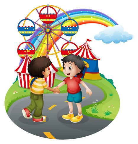 Jongens handenschudden voor het carnaval vector