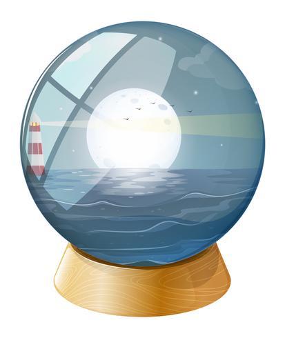 Een zee met een fullmoon in de koepel vector
