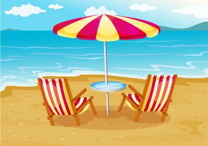 Een parasol met stoelen aan de kust vector