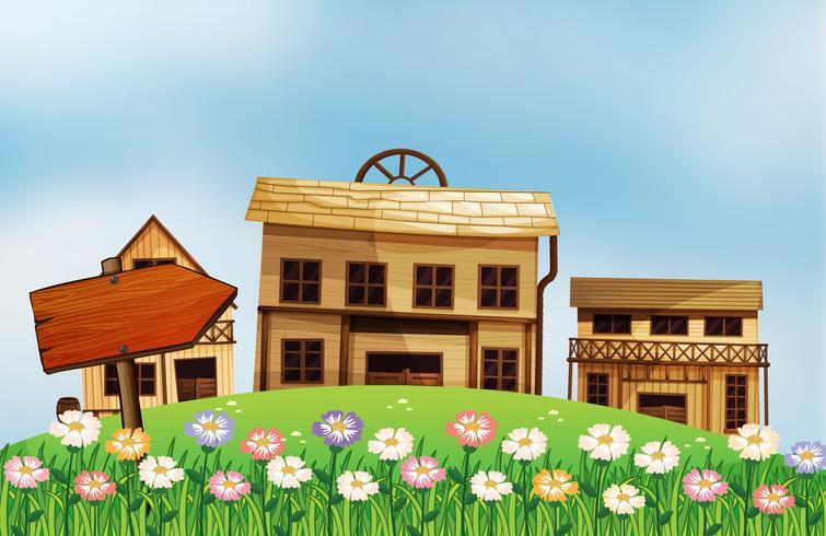 Een pijl en de huizen vector