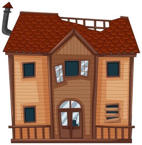 Oud huis gemaakt van hout vector