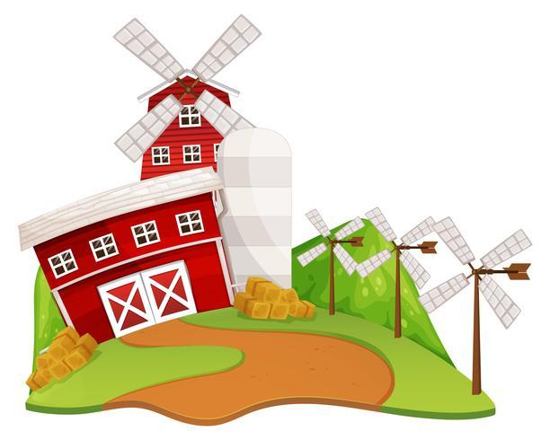 Boerderij scène met schuur en windmolen vector