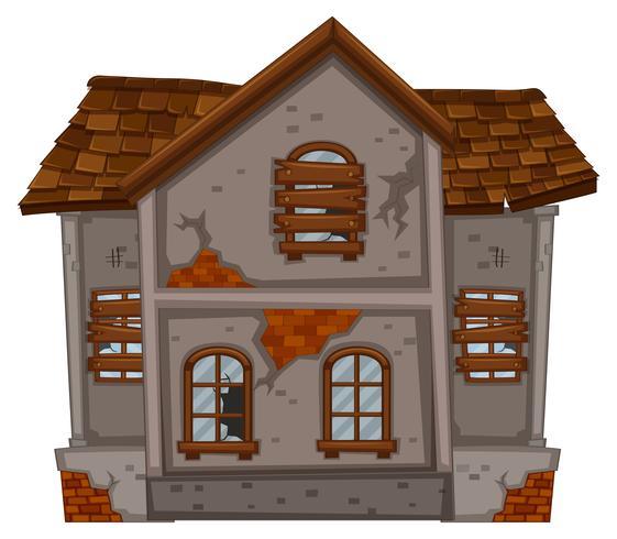 Brickhouse met verwoeste ramen vector