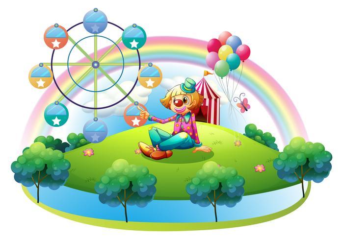 Een eiland met een vrouwelijke clown en een pretpark vector