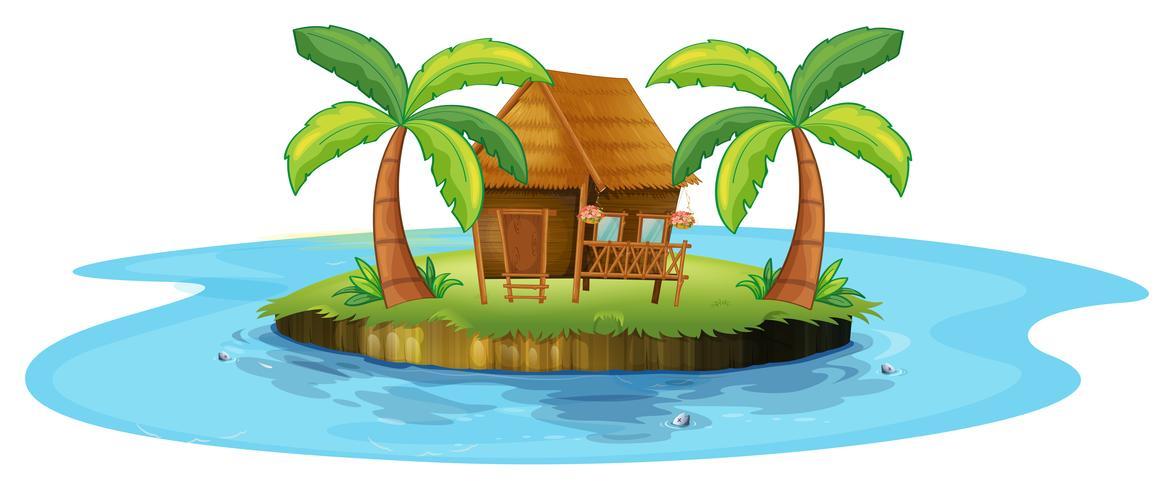 Een kleine nipahut op een eiland vector