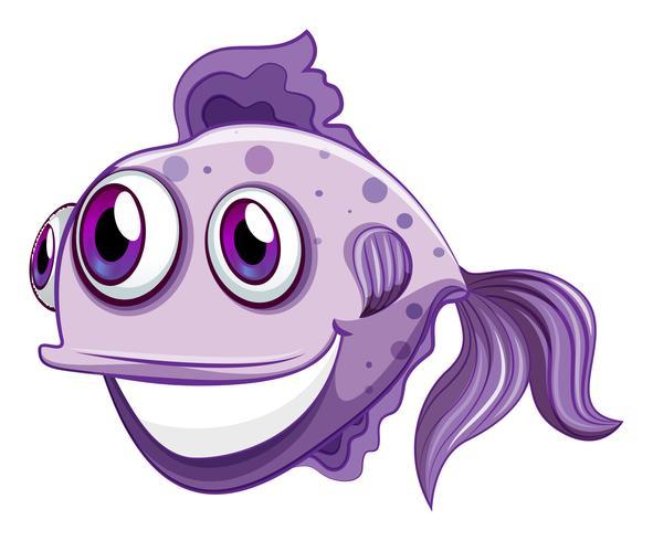 Een violet vis lachend vector