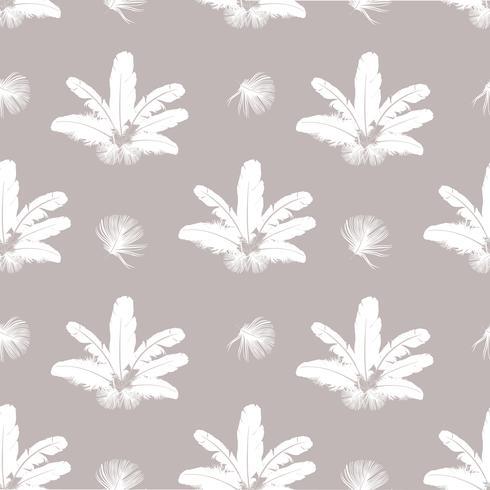 Veren patroon. Witte veren op grijze achtergrond. natuurlijke kussen naadloze textuur. vector