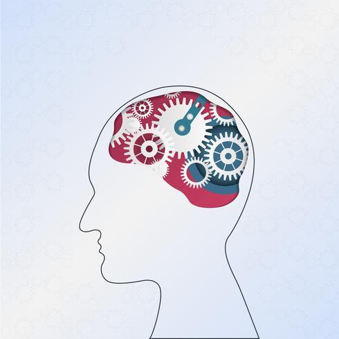 Creatief idee brainstormen. Innovatie en oplossing. Menselijk hoofd met versnellingen. Hoofd denken. vector