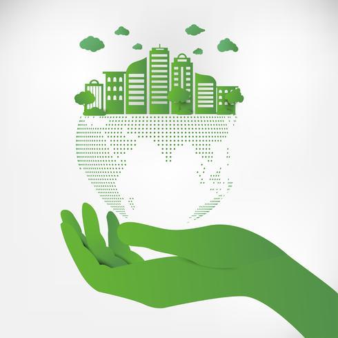 Save Earth Planet World Concept. Wereld milieu dag concept. groene moderne stedelijke stad op groene puntbol, ecologieconcept. vector