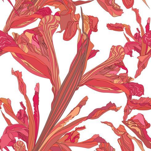 Naadloze bloemmotief. Bloem swirl achtergrond. vector