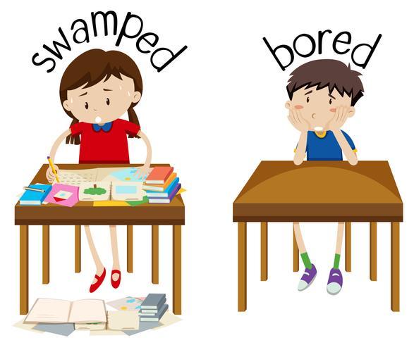 Engels tegenovergestelde woord overspoeld en verveeld vector
