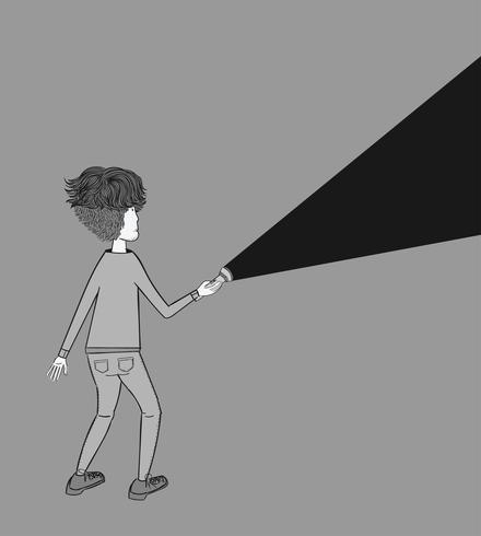 Een jonge man met een zaklamp schijnt in het donker. Concept van zoeken vector