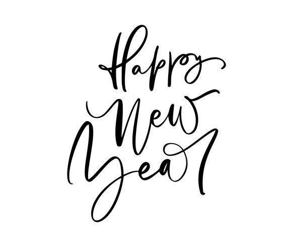 Gelukkig Nieuwjaar kalligrafie Kerst tekst. Vakantie vectorillustratie met belettering samenstelling en burst. Vintage feestelijk etiket vector
