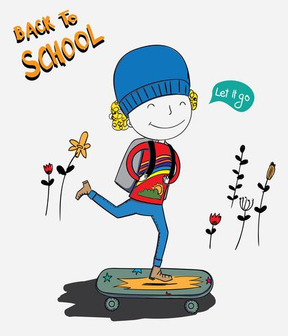 De jongen was aan het skateboarden en de jongen was erg blij om de eerste dag naar school te gaan vector