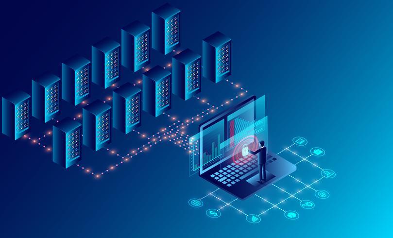 Datacenter cloud room opslag technologie vector