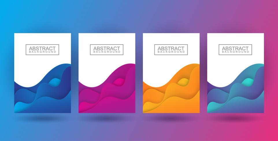 Stel dynamische kleurrijke poste in vector