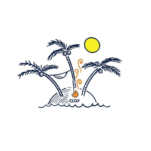 Vector lijntekeningen Doodle.gaves op de tsunami natuurrampen strand waarschuwing