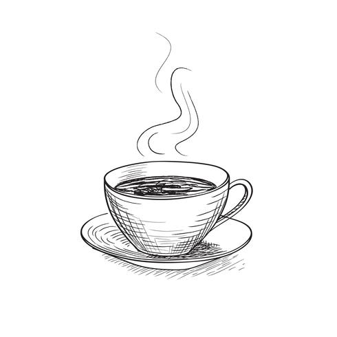 Kopje koffie graveren geïsoleerd. Koffiepauze pictogram. vector