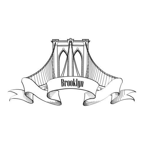 New York City, Brooklyn Bridge. Reizen USA landmark gegraveerde teken vector