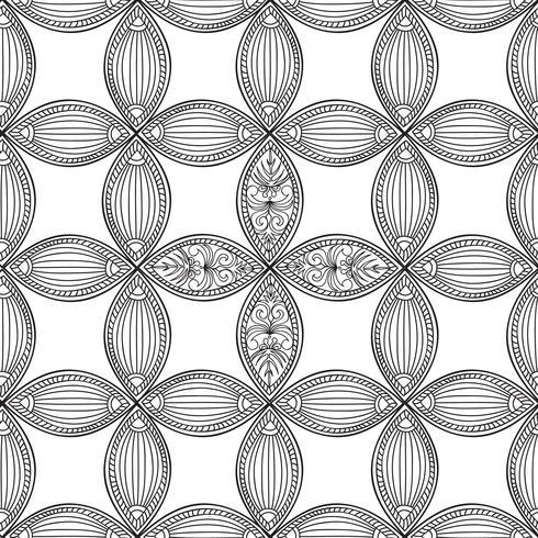 Naadloze bloemmotief. Lineair ornament. Abstracte achtergrond vector