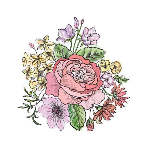 Bloemen boeket. Bloemenlijst. Bloei wenskaart. Zomer decor vector