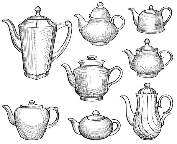 Theeketels ingesteld. Theepotten getekende collectie. Koffiepot schets. vector