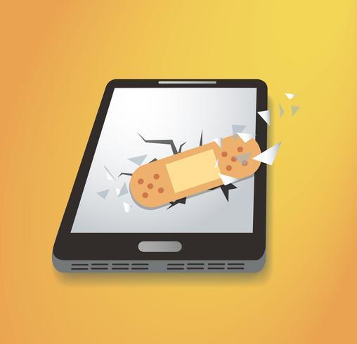 pleister op gebroken smartphone pictogram vector