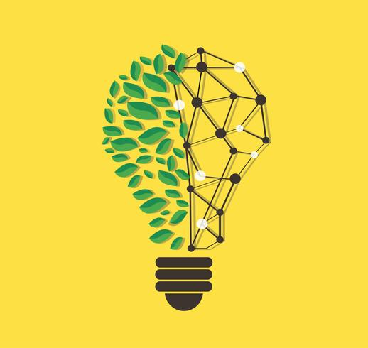 groene bladeren in gloeilamp vorm en technologie lijn vector, natuur eco-concept, Wereld milieudag vector