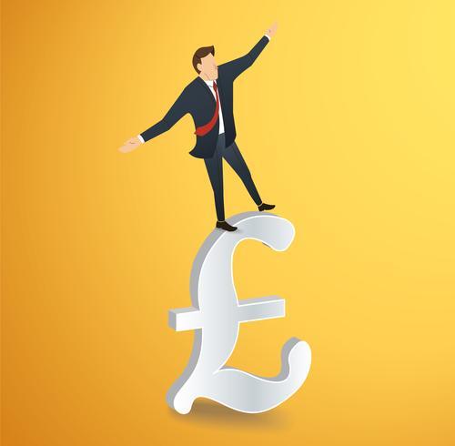 zakenman of man lopen in evenwicht op de Britse pond pictogram vector
