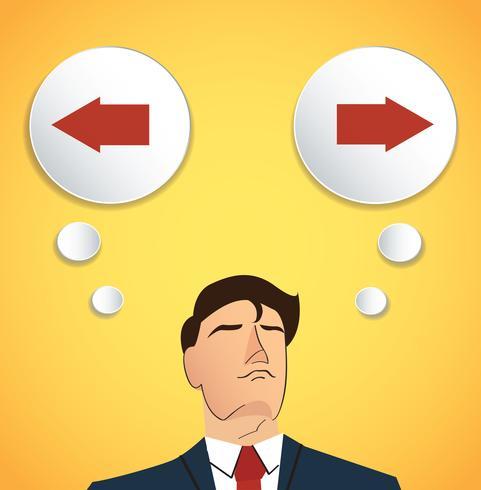 zakenman probeert een beslissing te nemen, links of rechts vector
