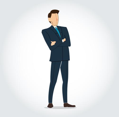 Succesvolle zakenman die zich met gekruiste wapensachtergrond bevindt vector
