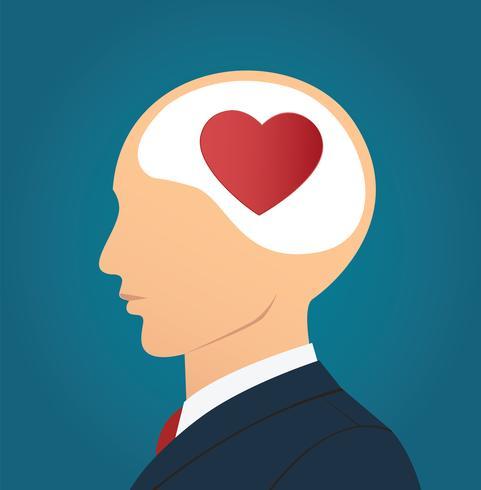 Zakenman met hart pictogram in hoofd vector