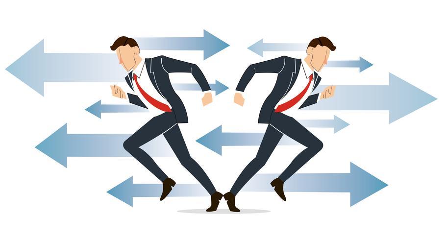 zakenman moet beslissen welke weg te gaan voor zijn succes vector