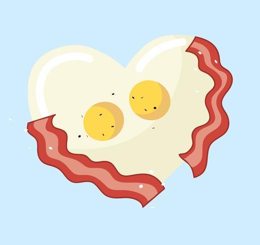 Gebakken ei en spek in hartvorm vector