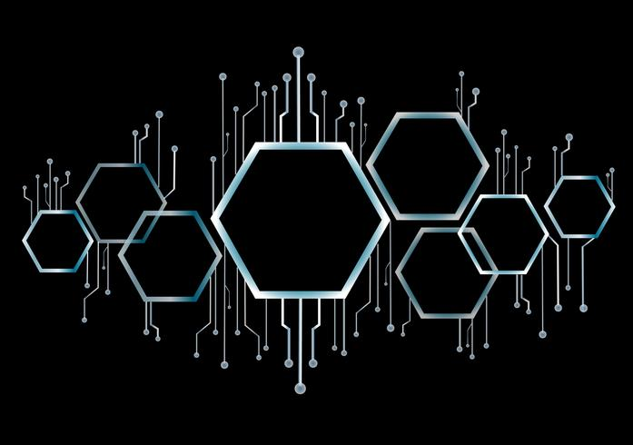abstract bee bijenkorf, zeshoek en technologie lijn achtergrond vector