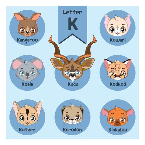 Dierlijk portretalfabet - Brief K vector