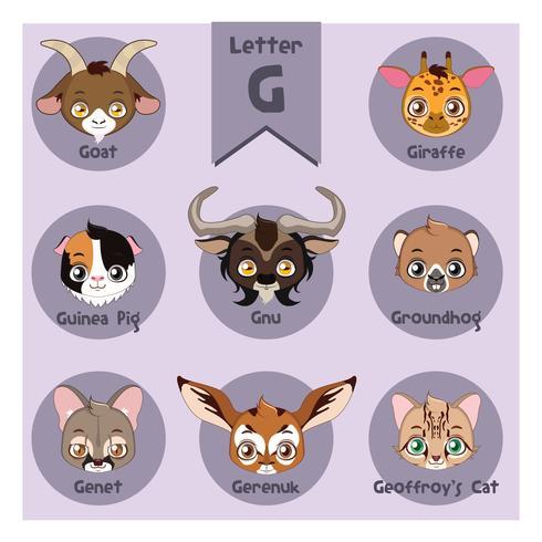 Dierlijke portret alfabet - Letter G vector
