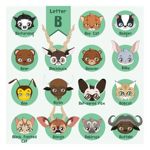 Dierlijke portret alfabet - Letter B vector
